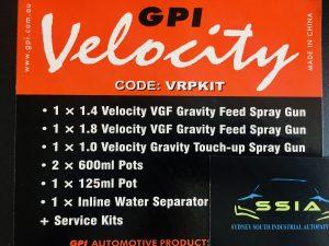 VELOCITY VGF & VMP - 3 SPRAY GUN KIT IN PLASTIC CARRY CASE | auto paint Sydney